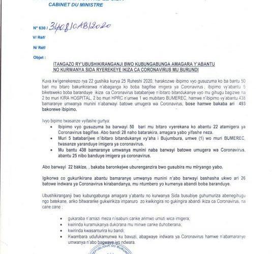 COVID-19 :  54 cas positifs sur 170,  115 guéris, et 1 décès particuliers, 27 juin 2020 / BURUNDI