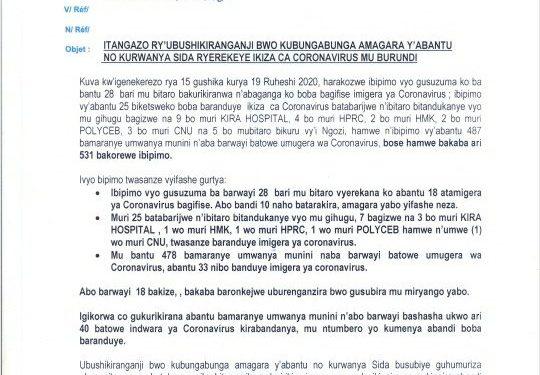 COVID-19 :  50 cas positifs sur 144,  93 guéris, et 1 décès particuliers, 20 juin 2020 / BURUNDI