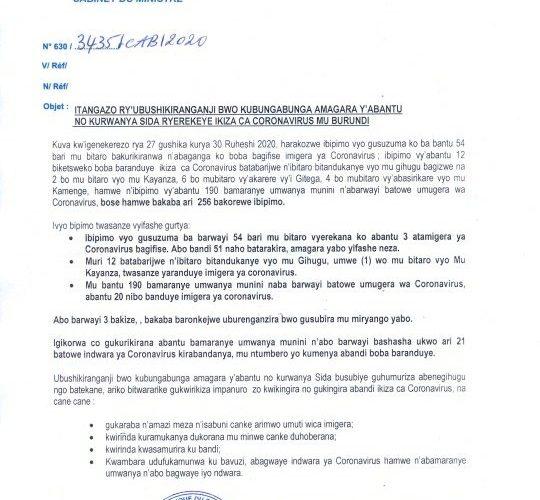 COVID-19 :  72 cas positifs sur 191,  118 guéris, et 1 décès particuliers,  3 juillet 2020 / BURUNDI