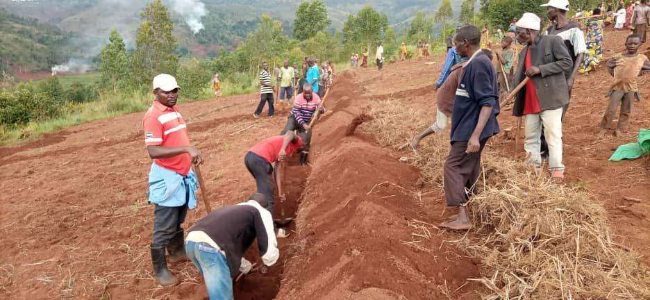TRAVAUX DE DEVELOPPEMENT COMMUNAUTAIRE – Tracer des courbes de niveau en colline KIBOGOYE à MUYINGA / BURUNDI