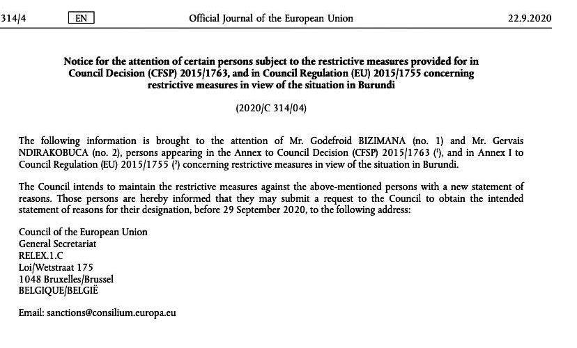 REVOLUTION DE COULEUR  AU BURUNDI DE 2015 :  L'UNION EUROPEENNE  vient de prolonger ses sanctions contre des  personnalités de la Police Nationale du BURUNDI