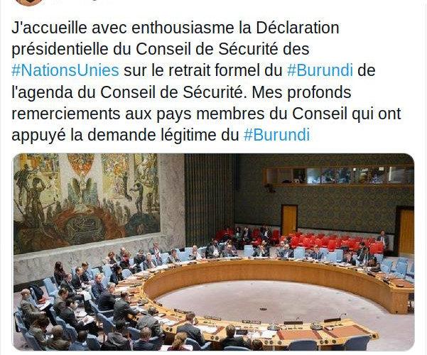 Le BURUNDI sort de l'agenda du Conseil de Sécurité de l'ONU