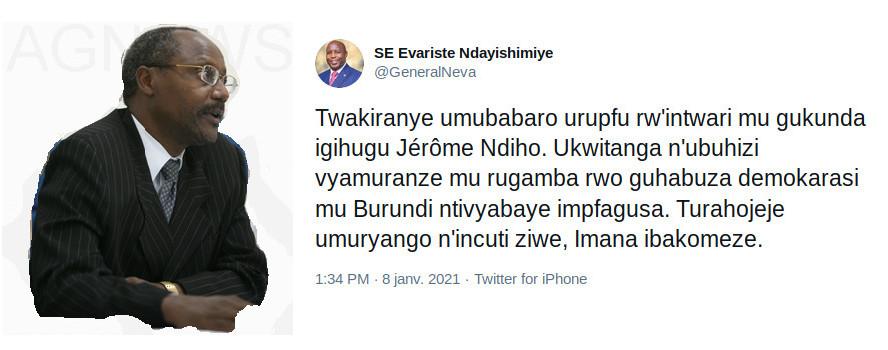 BURUNDI / DÉCÈS DE FEU NDIHO JEROME : Les condoléances …