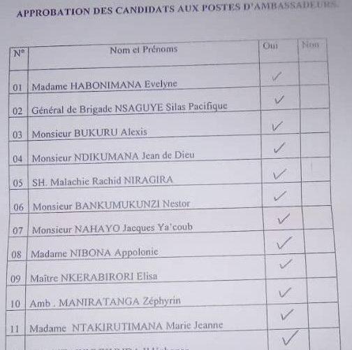 BURUNDI : Le Sénat approuve 12 noms de candidats ambassadeurs