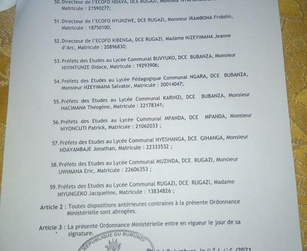 BURUNDI : 59 fonctionnaires éducatifs remplacés à BUBANZA
