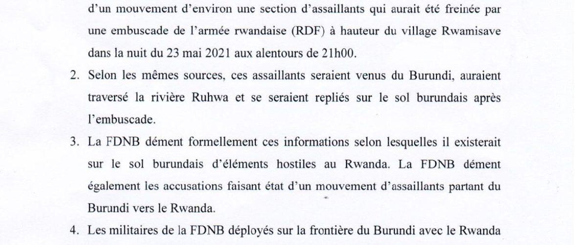 Le BURUNDI dément le présence sur son sol de rebelles du RWANDA