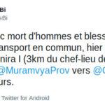 BURUNDI : TERRORISME - Embuscade sur des transports en commun à RUTEGAMA / MURAMVYA