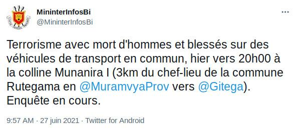 BURUNDI : TERRORISME – Embuscade sur des transports en commun à RUTEGAMA / MURAMVYA