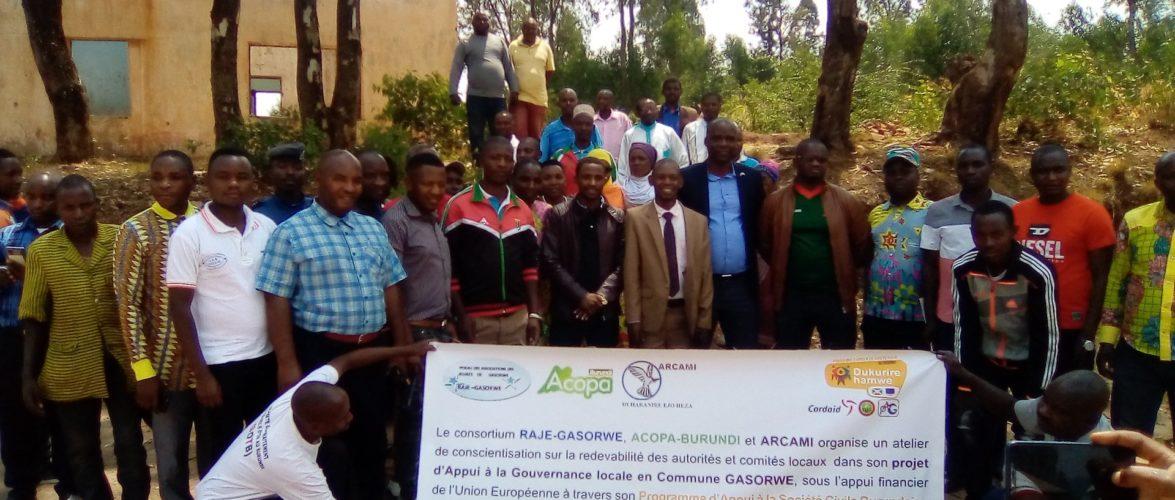 BURUNDI – SOCIETE CIVILE : Le Consortium RAJE-GASORWE et ARCAMI en atelier à GASORWE / MUYINGA