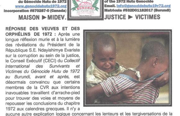 BURUNDI : Le Collectif des Survivants et Victimes du Génocide HUTU de 1972 en colère