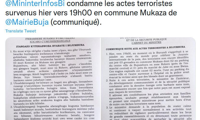 BURUNDI : TERRORISME – 2 morts suite à 3 grenades lancées sur la foule à BUJUMBURA
