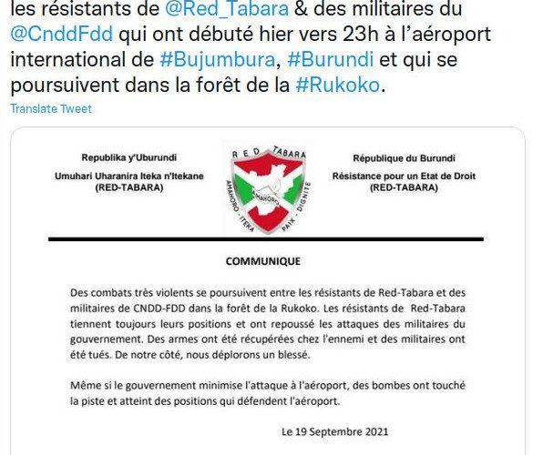 BURUNDI : Les rebelles RED TABARA n'existent que sur TWITTER et autres MEDIA