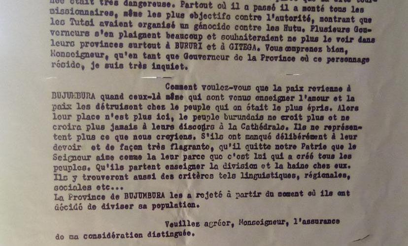GENOCIDE CONTRE LES BAHUTU DU BURUNDI DE 1972 :  Des curés tentent d'empêcher le massacre à BUJUMBURA